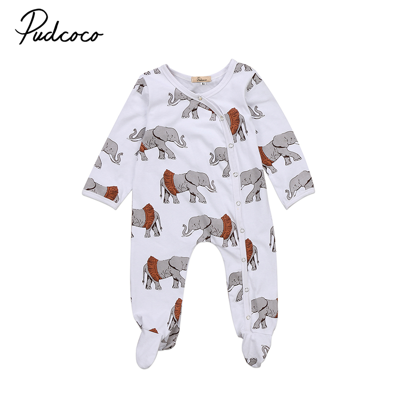 Cute Newborn Kids Baby Boys Girls Elephant Clothes Long Sleeve Cotton Toddler Kids Footies Jumpsuit One Pieces Outfits maggie s walker baby rompers outfits boys long sleeve banana luxury organic cotton climb clothes toddler girls roupa infantil