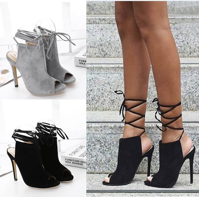 summer sandals ankle strap heels wedding shoes High Heels Women stilettos shoes open Toe High Heels grey black sandals X233