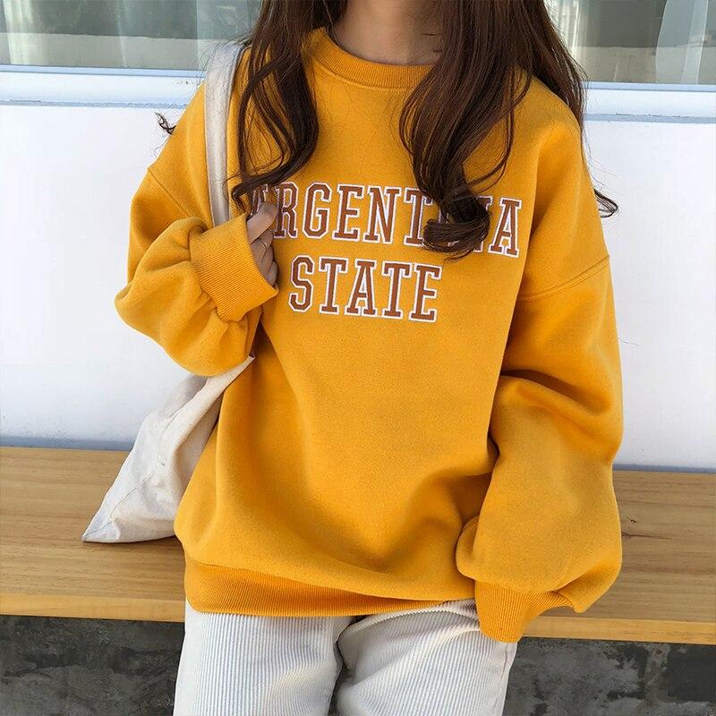 2018 las mujeres de Corea Harajuku impreso sudadera suelta terciopelo femenino señoras ropa suelta retro ulzzang svitshot para las mujeres