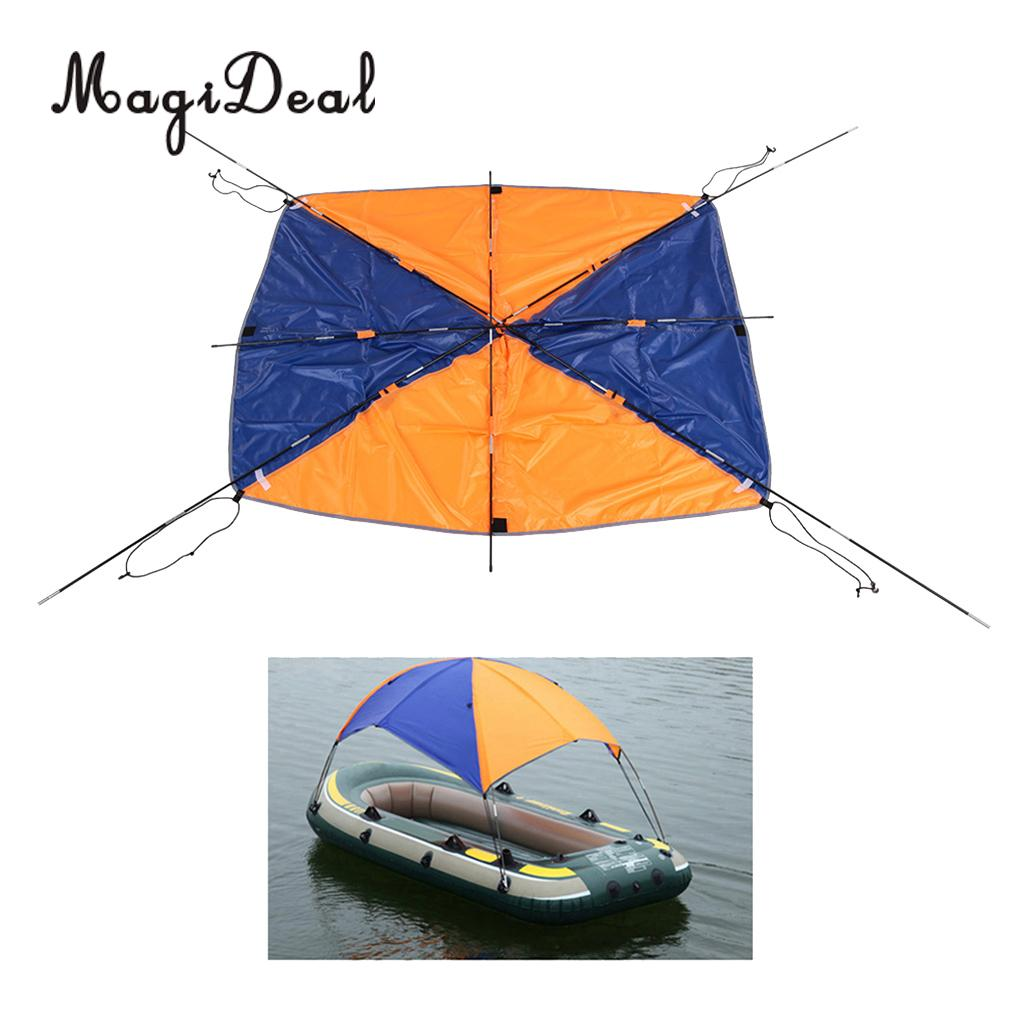 MagiDeal 2 /4 Person Inflatable Boat Sun Shelter Awning Top Cover Fishing Tent Sun Shade for Marine Canoe Kayak Boat Supplies outdoor 1 person inflatable boat canoe kayak sun shelter awning top cover sun shade blue for camping hiking fishing equipment