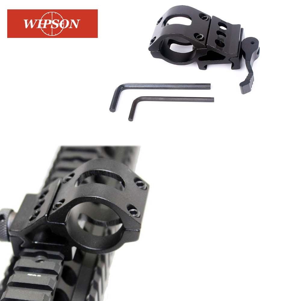 45 Degree Offset Ring Flashlight Holder Mount Fit For 20mm Picatinny/Weaver Rail For 25.4mm Tube With QD Quick Release Base