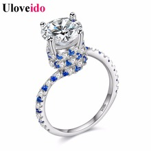 Uloveido Wedding Rings for Women Silver Color Blue Cubic Zirconia Engagement Ring with Stones New Year Gifts Decorating Y191