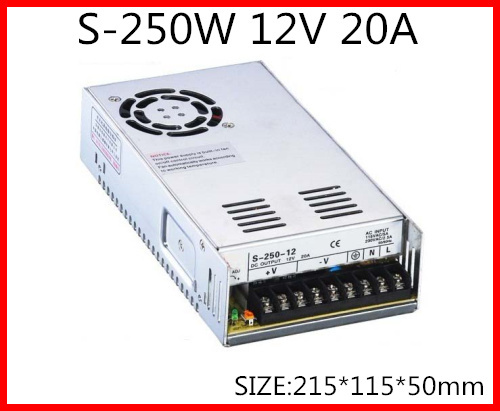 S-250-12 250W 12V 20A  Single Output Switching power supply for LED Strip light  AC-DC Whit Fan 1200w 48v adjustable 220v input single output switching power supply for led strip light ac to dc