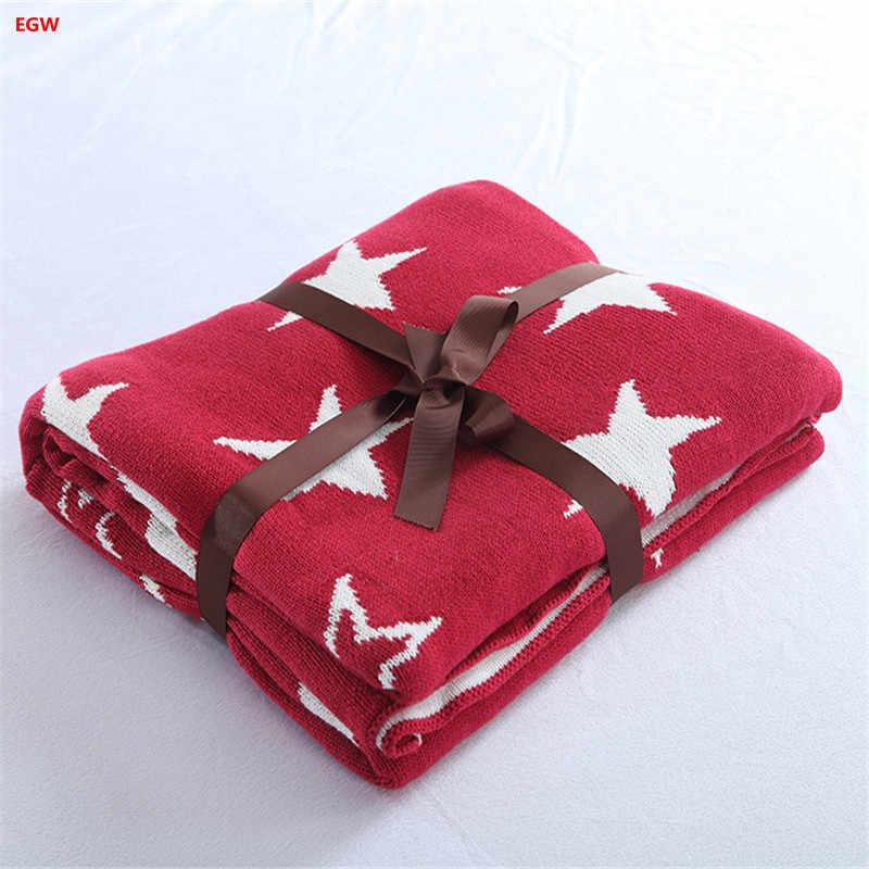英国スタイルスター毛布赤100%綿ニット毛布ブルーソファ毛布ソフトポータブルホームテキスタイル125*150センチ子供のための大人
