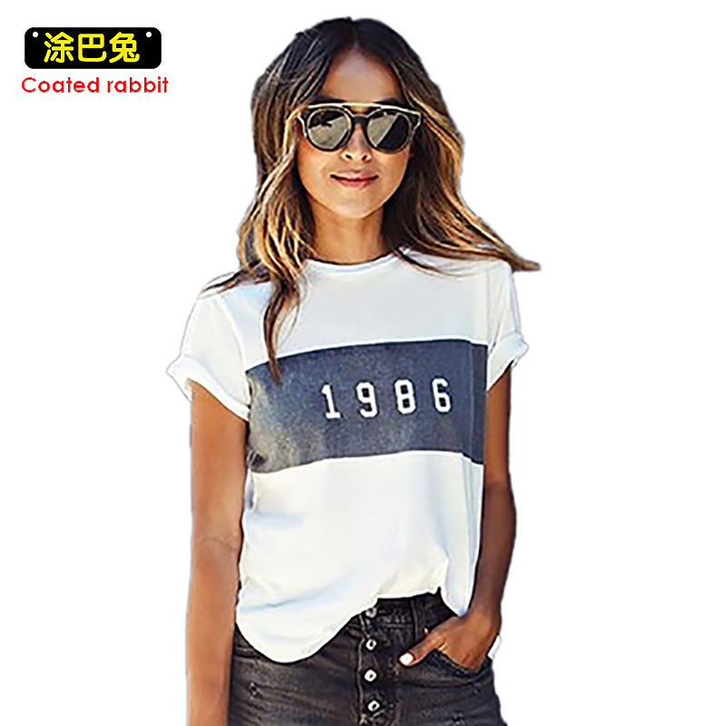 CR Fashion T Shirt Women Summer Letter 1986 Printed Short Sleeve T-Shirt Women Clothes Casual Female T-Shirt Tops