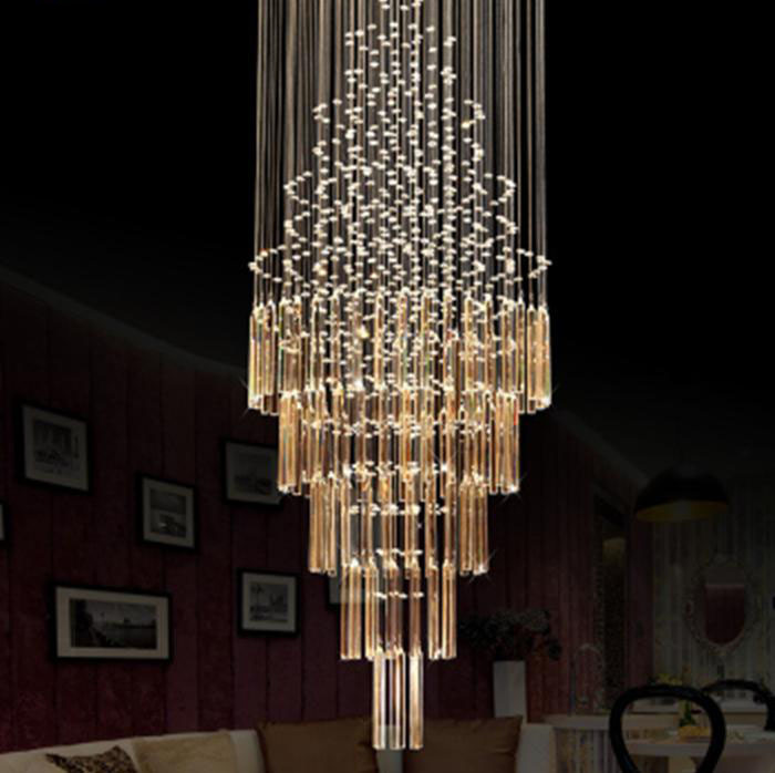 Modern And Stylish Double Staircase Hall Round Crystal