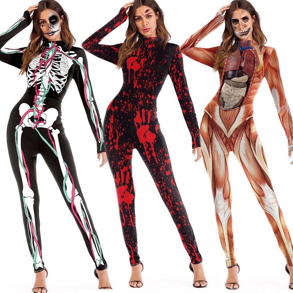 fashion womens scary halloween 3d skull viscera blood print skinny