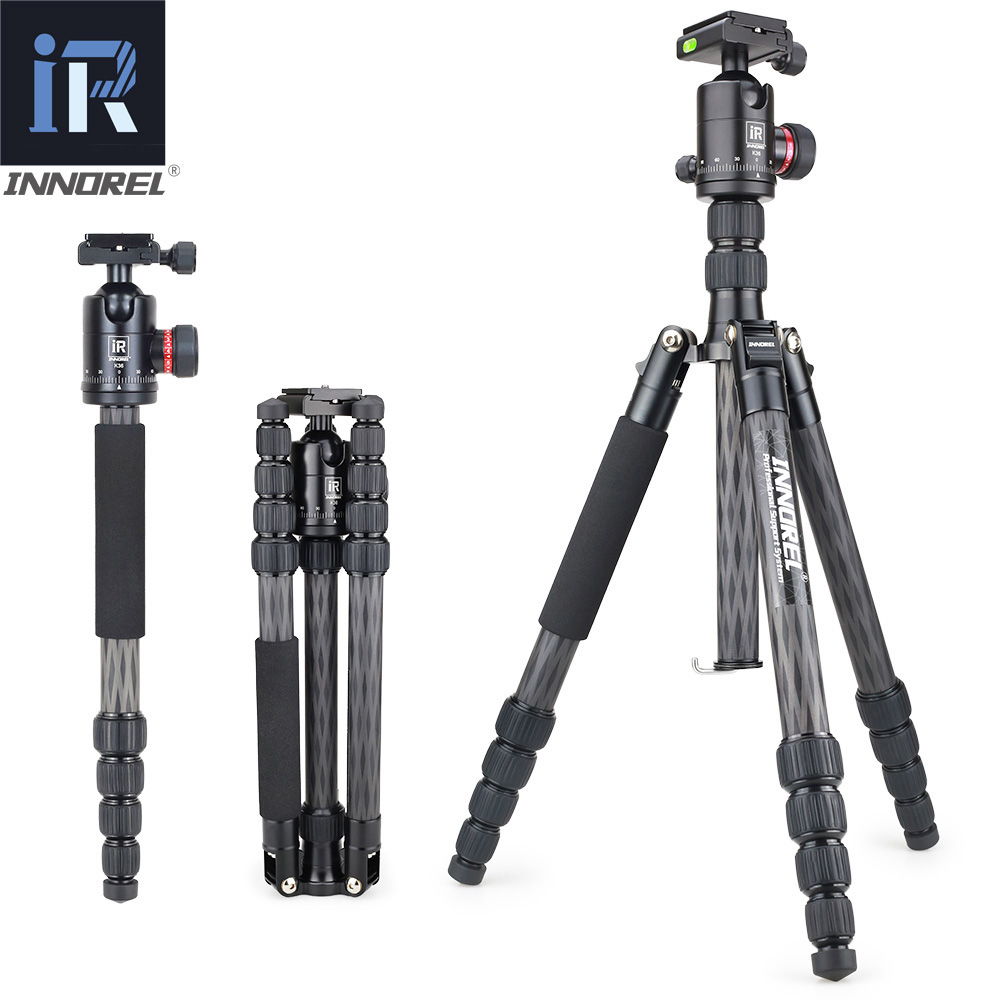 INNOREL RT55C Professional Carbon Fiber Tripod Travel Compact Camera Video Monopod with Ball Head & Quick Release Plate