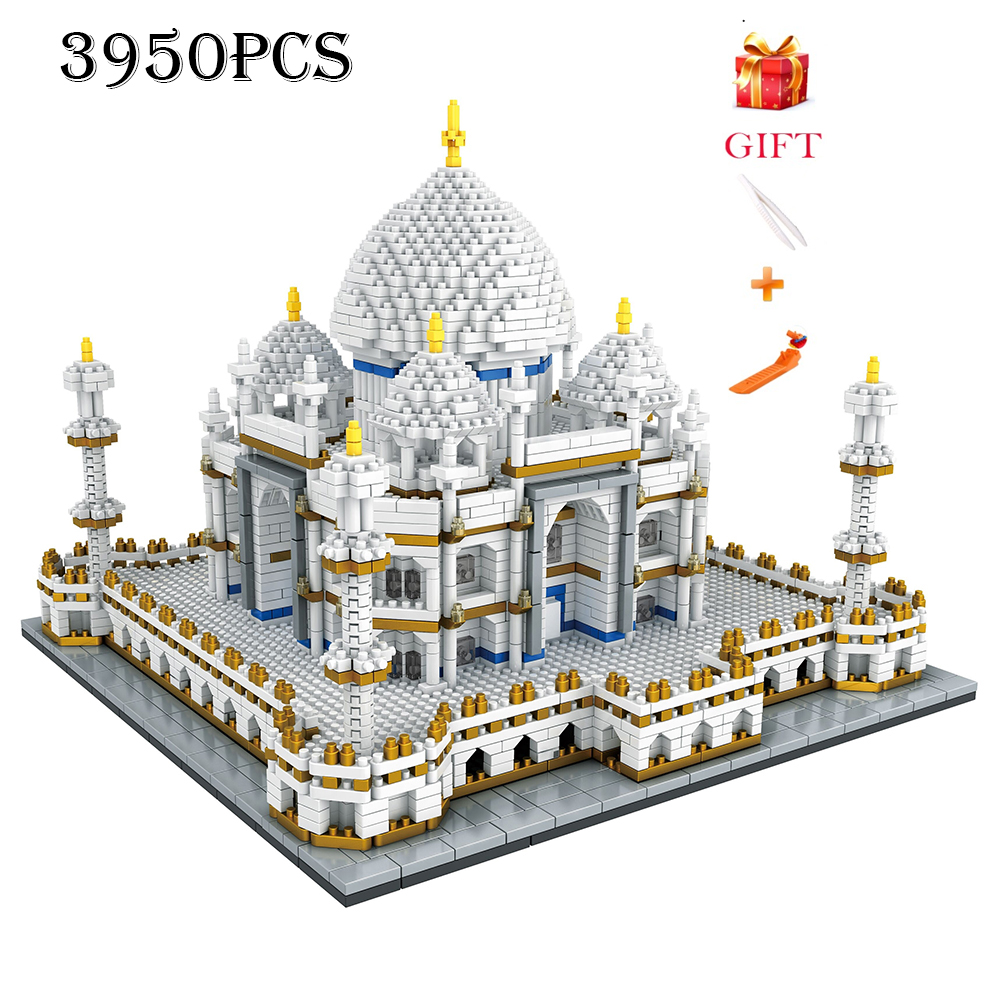 Architecture Block Set Landmarks Taj Mahal Palace Model Building Blocks Children Toys Educational 3D Bricks Kids Gifts