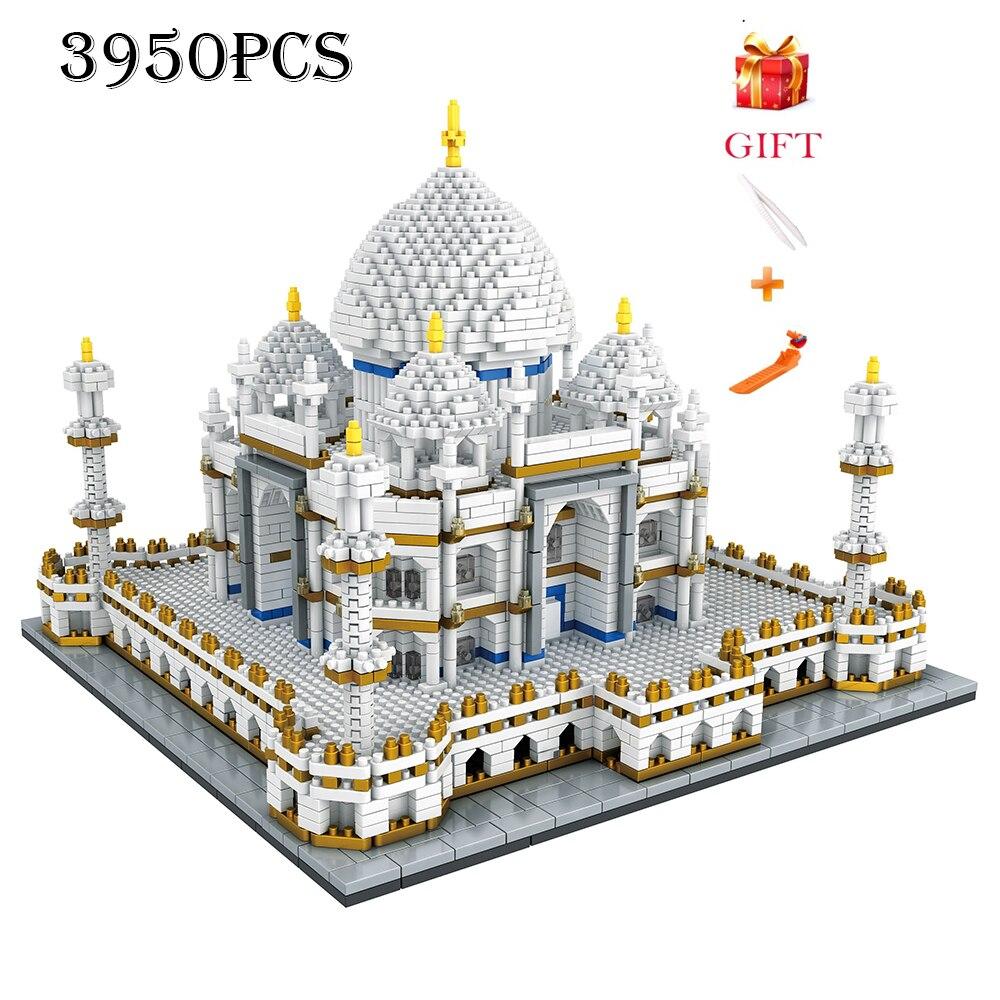 Bloco de arquitetura conjunto marcos taj mahal palácio modelo blocos de construção crianças brinquedos educativos 3d tijolos presentes das crianças