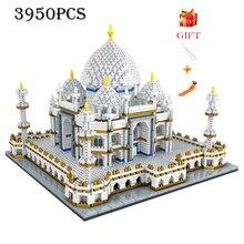 Mimari blok seti merkezi Taj Mahal Palace modeli yapı taşları çocuk oyuncakları eğitici 3D tuğla çocuklar hediyeler