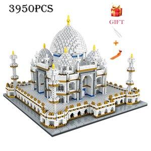 Image 1 - Mimari blok seti merkezi Taj Mahal Palace modeli yapı taşları çocuk oyuncakları eğitici 3D tuğla çocuklar hediyeler