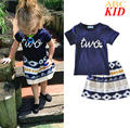Toddler Girls Clothing Sets Summer Shorts+Aztec Skirt Tribal Style Fashion Girls 2PCS Suits T-shirt Skirt Sets For Kids KC135
