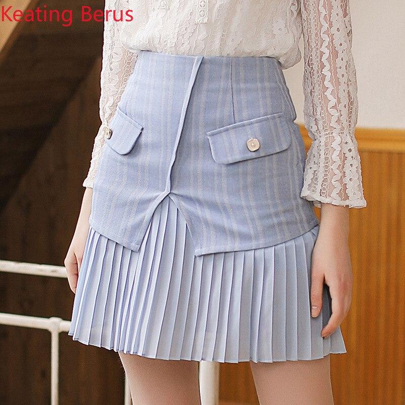 Keatingberus 2019 Spring New Light Blue Women's Skirt Striped Skirt Women's Pants Wild Women's Clothing 0650 Price $26.88