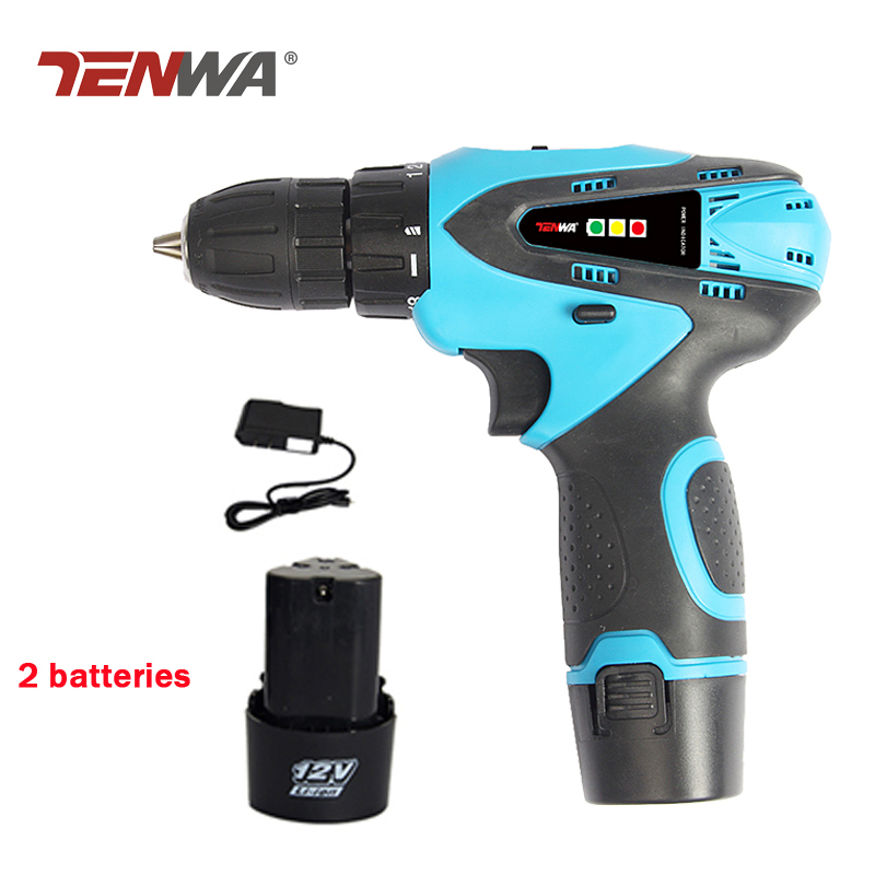 Tenwa 12V Electric Drill Electric Screwdriver 2 Lithium Batteries Rechargeable Parafusadeira Furadeira Power Tools Led light new electric drill cordless screwdriver rechargeable battery electric screwdriver parafusadeira furadeira tenwa power tools