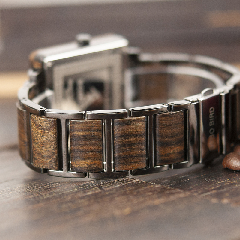 Image 4 - marque de luxe BOBO BIRD Wooden Men Square Watches Luxury Quartz Personalized Wood Watch Gifts for Men relojes de marca famosa-in Quartz Watches from Watches