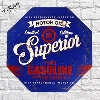 Vintage Metal Sign Plaque Motor Oil Superior Gasoline 1969 Garage Signs Pub Bar Home Wall Decor