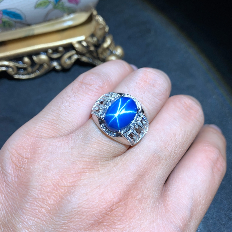 classic shiny blue Star Sapphire gemstone ring silver fine jewelry muscular power ring birthday gift men ring attractive