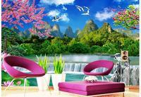 3d Wallpaper Custom Photo Non Woven Mural Wall Sticker Peach Blossom Mountain Lakes Yacht Painting 3d