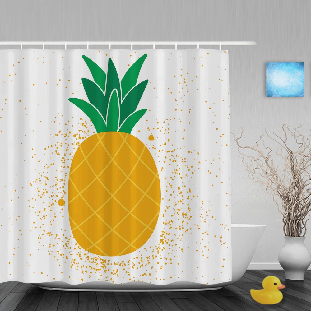 bright cute pineapple shower curtain summer fruit home decor bathroom shower curtains waterproof polyester fabric with hooks