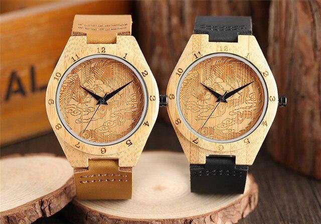 Kuhlen Phoenix Design Herren Bambus Holz Uhren Drachen Quarz Holz