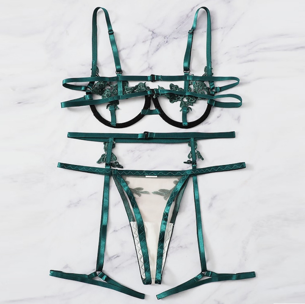 Porno Sexy Lingerie Women Sexy Underwear Lenceria Mujer Erotic Langerie Open Bust Transparent Babydoll Lace Bra And Panty Set