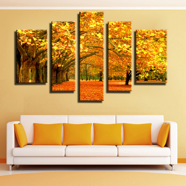 5 Panel Autumn Gold leaves Modular pictures Canvas Painting Wall Art ...