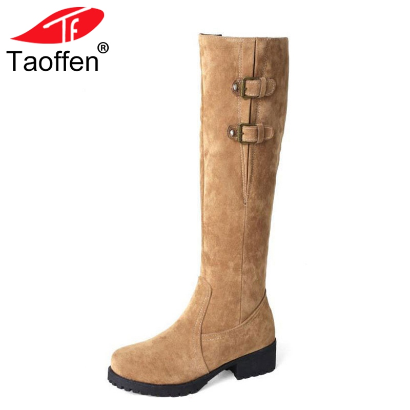 TAOFFEN Size Big 33-44 Shoes Women Knee Snow Boots Metal Buckle High Heel Boots Thick Fur Shoes Winter Long Boots Women Footwear taoffen winter real leather boots thickened fur women boots short ankle snow boots lady buckle footwear women shoes size 33 42