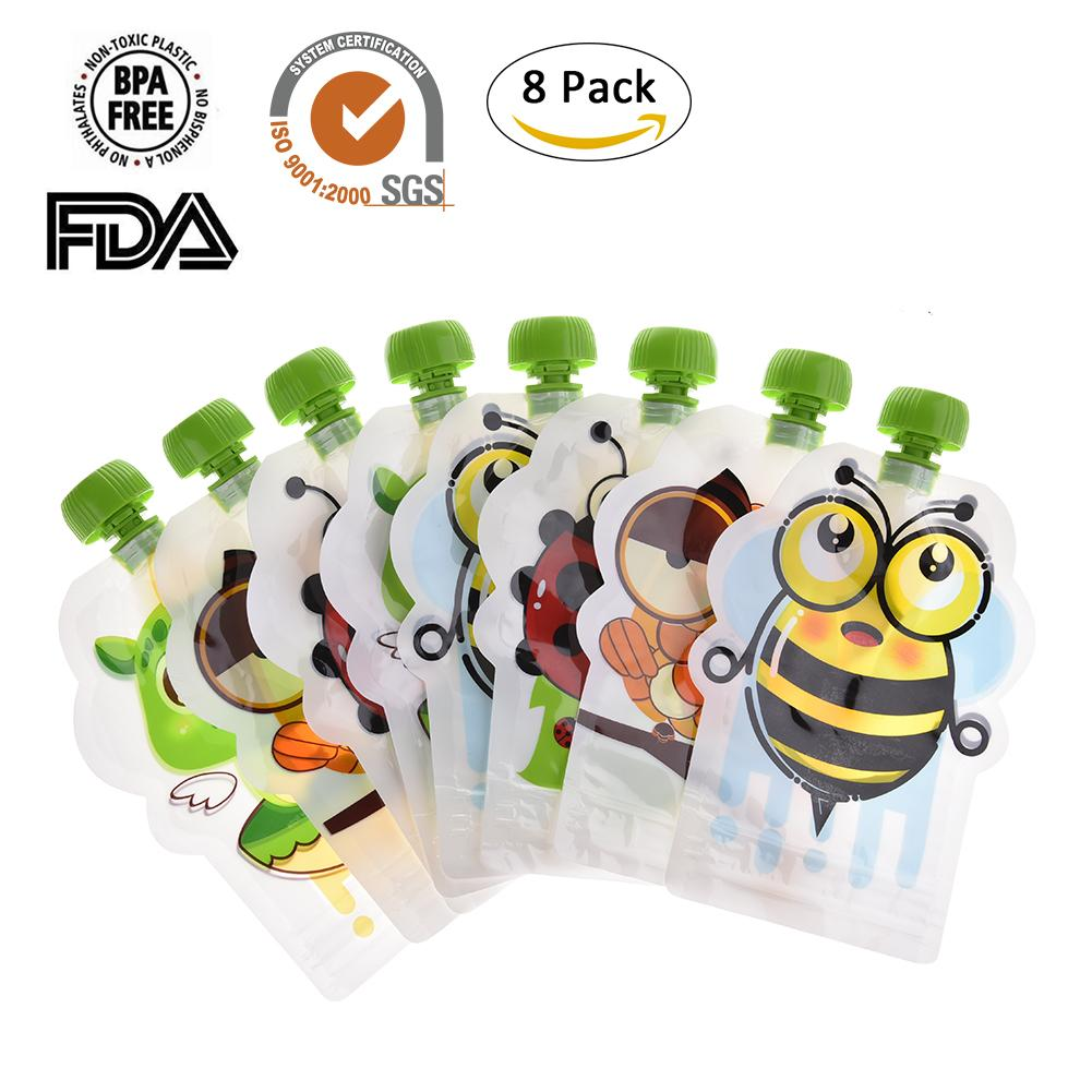 8PCS/lot  BPA-Free Reusable Sealed Complementary Food Pouch Storage For Baby Infant  Fruit Pulp Breat Milk Bag