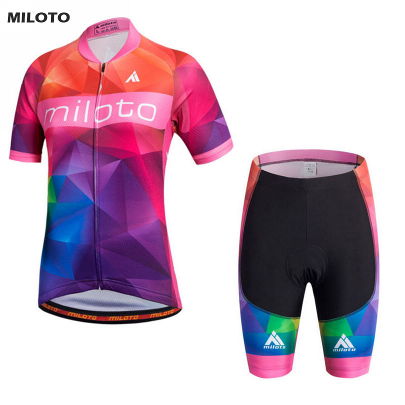 MILOTO Womens Ropa Ciclismo Cycling Jersey (Bib) Shorts Kit Coolmax Girls Bike Wear Clothing Set