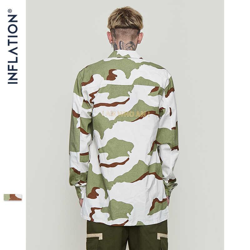インフレ新到着迷彩フィールドカジュアルシャツヒップホップスタイル盗品ターンダウン襟長袖男性 8706 ワット