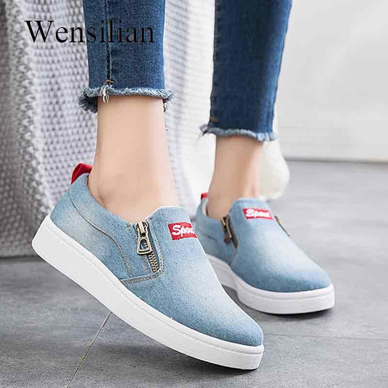 Spring Vulcanized Sneakers Denim Shoes Women Trainers Zipper Canvas Shoes  Platform Sneakers Ladies Flats Zapatos De 08adb2fe01c3