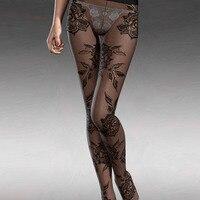 Elastic Women Gauze Tights Fashion Sexy Print Floral Pantyhose Bottom Home Lounge Wear 79777