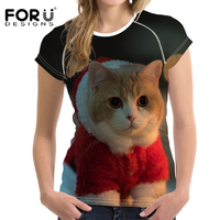 FORUDESIGNS 2017 T Shirt Women Christmas Cat Dream Tree Print 3d T Shirt Unisex Casual Short