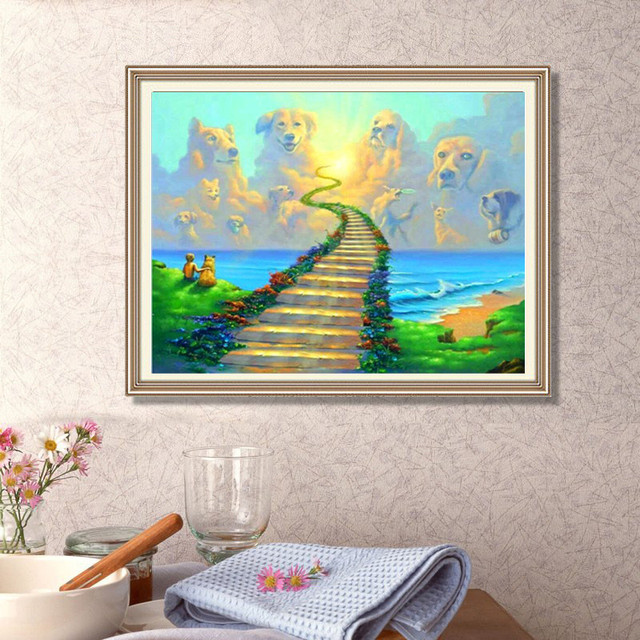 Full Round Diamond Diy Painting All Dogs Go To Heavenembroidery