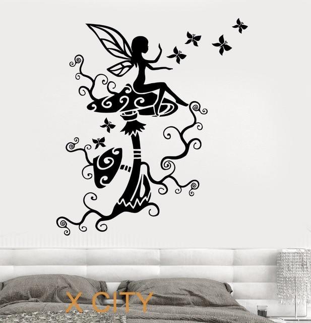 Sweet Fairy On The Mushrooms For Children Kids Bedroom Wall Art Decal Sticker Removable Vinyl Transfer