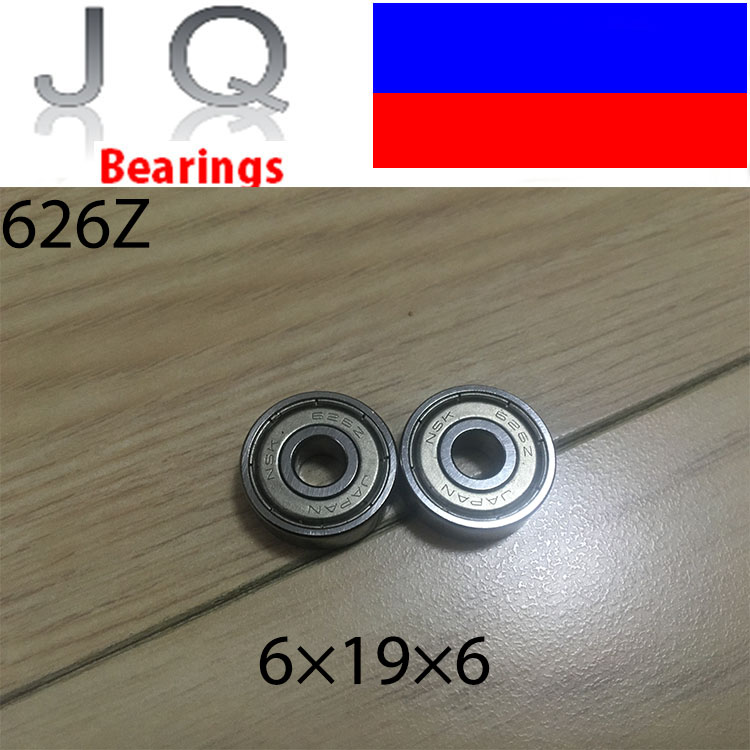 JQ <font><b>Bearings</b></font> Free Shipping 626ZZ <font><b>Bearing</b></font> ABEC-5 10PCS 6X19X6 mm Miniature <font><b>626Z</b></font> Ball <font><b>Bearings</b></font> 626 ZZ EMQ Z3V3 Quality image