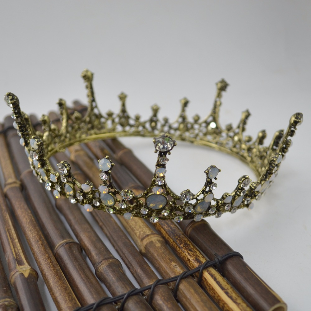 Baroque Hair Accessories For Girls Women Wedding Opal Crystal Tiara Big Crown Queen Bronze Bridal Headpiece Bridal Head Jewelry