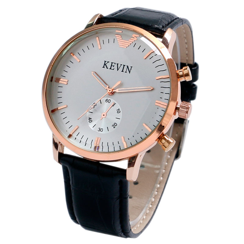 KEVIN Modern Dress Women Quartz Ladies Watch White Dial Small Seconds Leather Band Strap Classy Round Analog Lovers Wristwatch