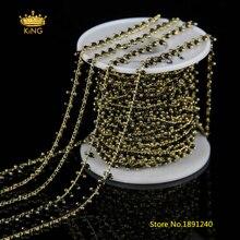 5 метров 2 мм черный стеклянный миниатюрными бусинами цепи Выводы, покрытием gold Wire Wrapped ссылки прелести стекло четки цепи Jewelry HX094