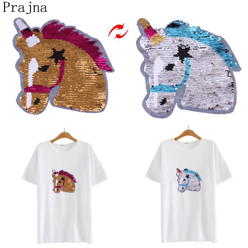 Prajna Large Reversible Patch Change Color Sequin Sewing Patch Unicorn Horse Sew On Embroidery Patches For Clothes Fabric Stripe