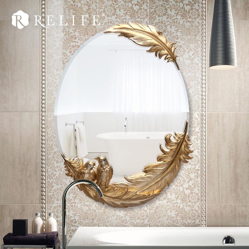decorativo de la sala de espejo de pared de acrlico de la pluma oval antivaho espejos de bao decoracin del hogar