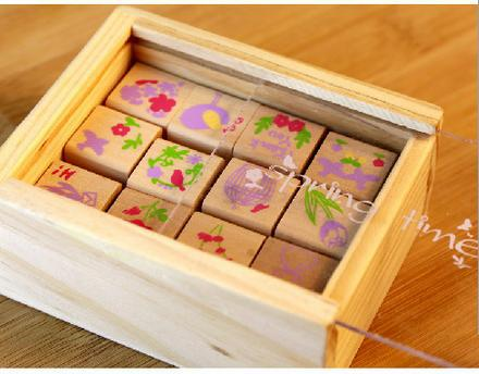 12 Pcs/set New Lovely Vintage Spring Time Series DIY Multifunction Wooden Clear Rubber Stamp Set Wooden Box DIY Funny Work free shipping 1 set 4pcs included wooden stamp with iron box package good time series 6 style available page 10