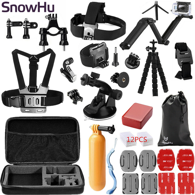 SnowHu for Gopro Accessories set Three way Monopod for go pro hero 5 4 3+ for xiaomi for yi for sjcam for eken h9 camera GS46