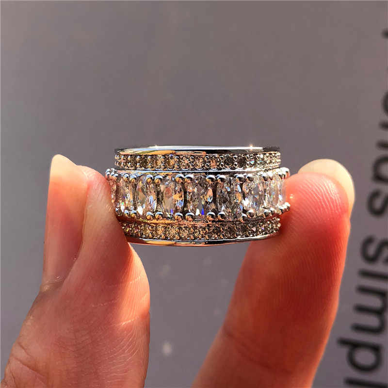 Luxury Female Big Zircon Stone Ring Vintage 925 Silver Crystal White Ring Promise Wedding Engagement Rings For Women