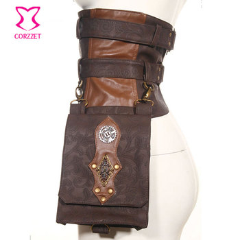 Cinturón de cuero PU y brocado marrón Vintage, bolso Steampunk, bolso de caballero Punk para motocicleta, accesorios para Cosplay, corsés góticos