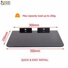 Universal de vidro temperado montado na parede av prateleira dvd suporte de suspensão de parede conjunto caixa superior montagem prateleira tv digital suporte máximo 20kg