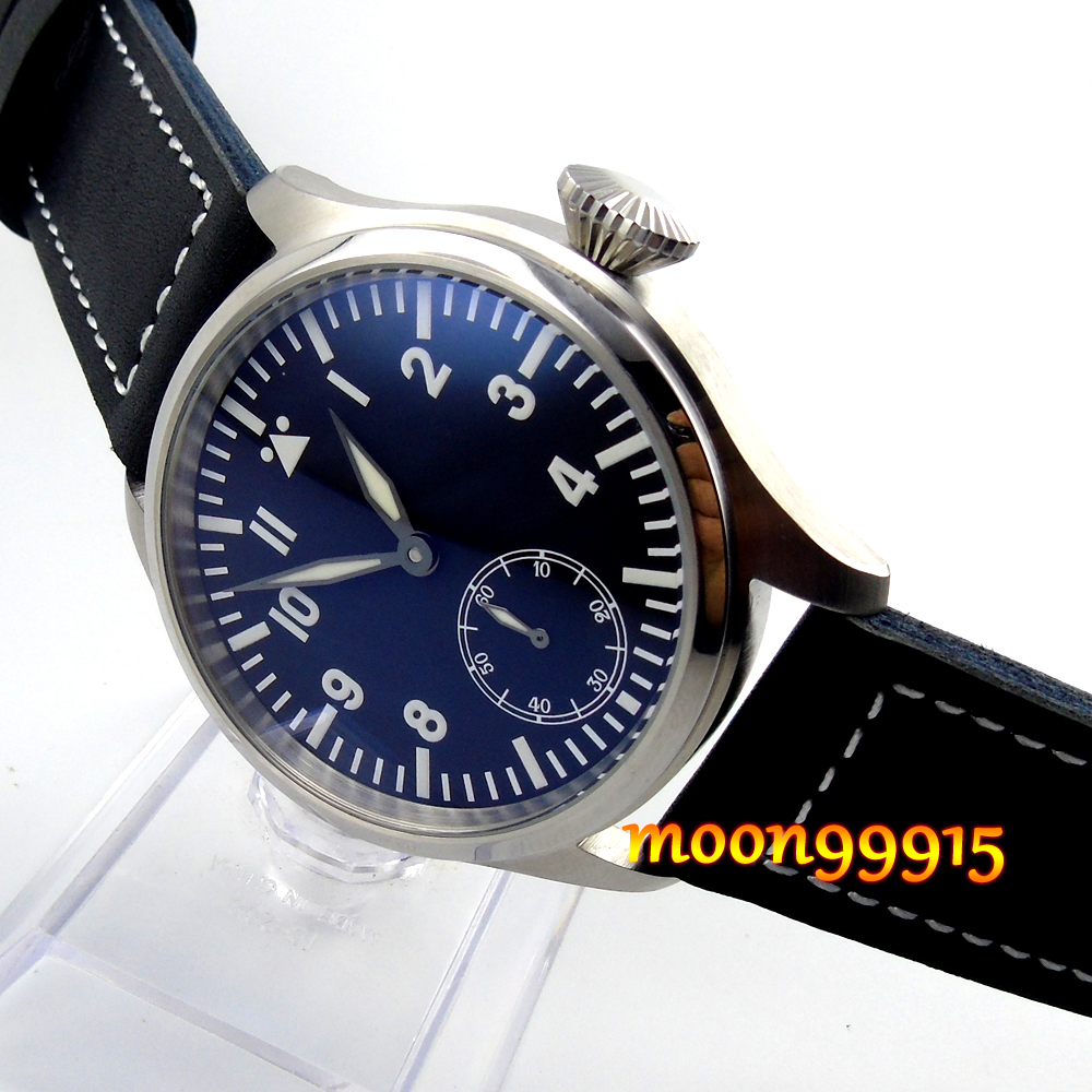 47mm parnis black dial blue luminous 6498 hand winding movement mens watch 44mm parnis black dial luminous marks seagull 6498 hand winding mens watch