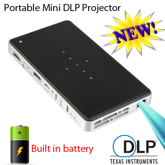 Video Projector Built In Battery Wifi Display Portable Projektor 3D