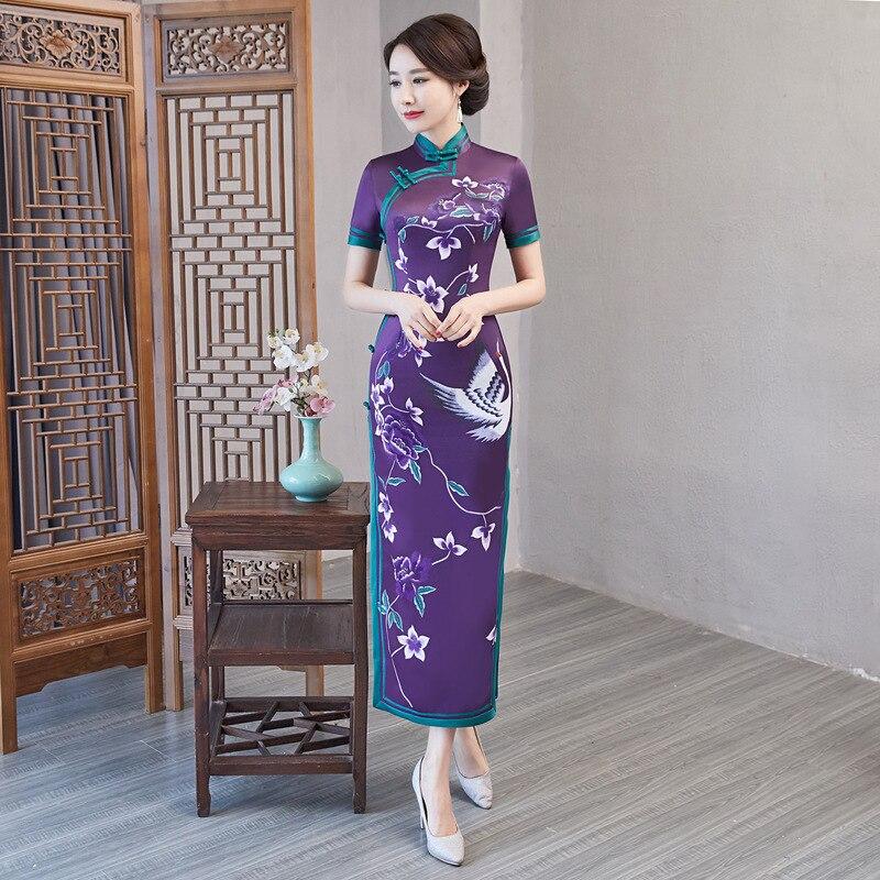 Nouveau violet traditionnel chinois femmes robe dames Satin Sexy Qipao nouveauté imprimé fleur longue Cheongsam grande taille M-4XL